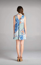 Load image into Gallery viewer, Mock neck floral mix print tunic dress