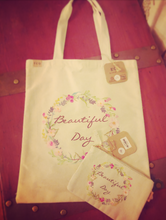 Load image into Gallery viewer, Beautiful Day canvas tote & travel pouch set