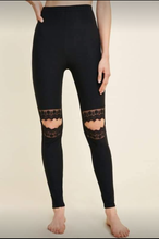 Load image into Gallery viewer, Black Lace Cut Out Brushed Leggings