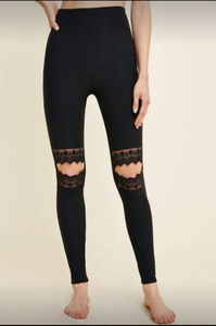 Black Lace Cut Out Brushed Leggings