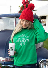 Load image into Gallery viewer, Coffee and Christmas Cheer Holiday Cozy Crew Neck Sweatshirt