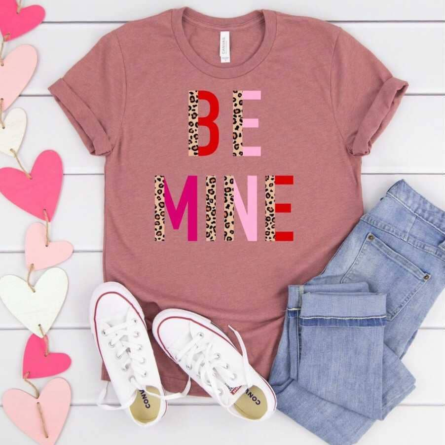 Be Mine Leopard Pink Red Tee