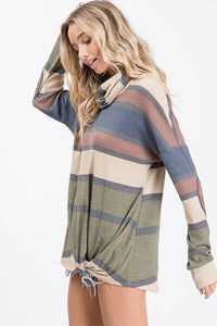 Elbow Patch Striped Tunic