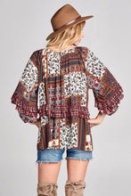 Load image into Gallery viewer, Burgundy Patchwork Print Top