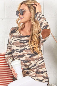 Waffle Knit Camo Elbow Top