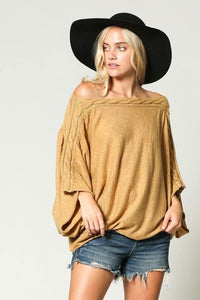 Mustard Oversized Off Shoulder Knit Sweater