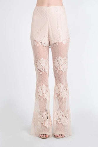 Beige Lace Flare Pant