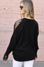 Load image into Gallery viewer, Black Peekaboo Lace Sleeve Sweater