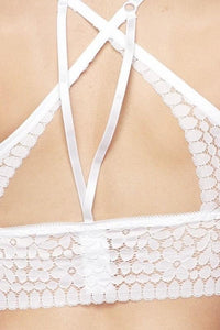 White Criss Cross Back Bralette