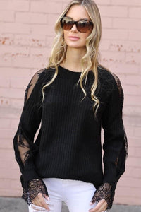 Black Peekaboo Lace Sleeve Sweater