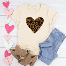 Load image into Gallery viewer, Leopard Heart Crew Neck Tee