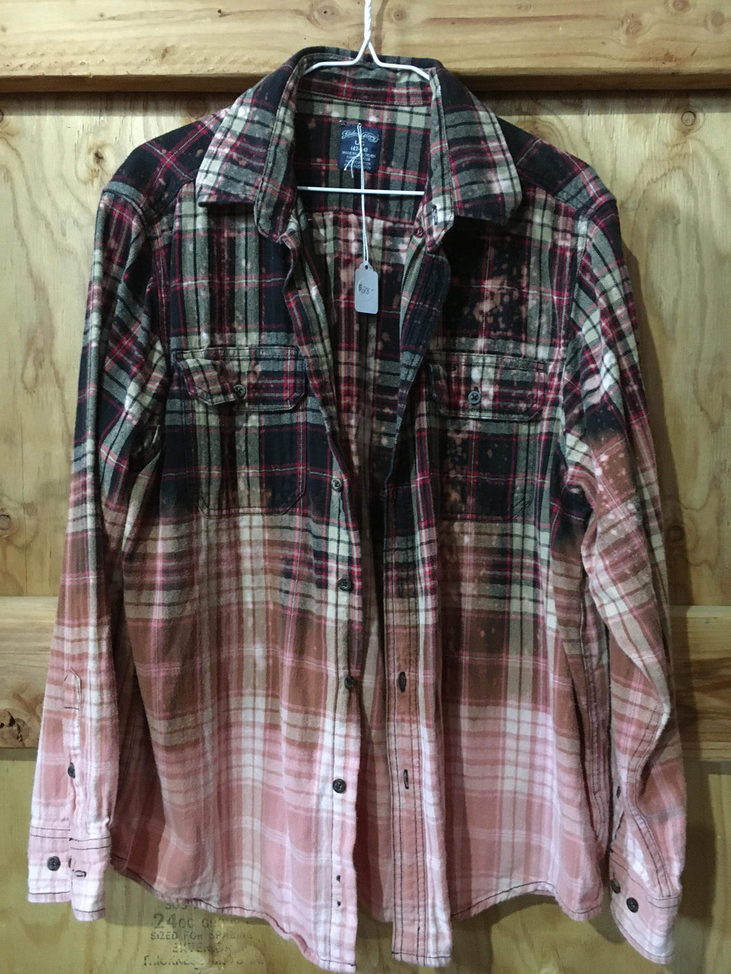 Red & Black hand dipped vintage flannel Large