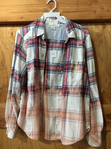 Red/white/blue hand dipped vintage flannel Medium