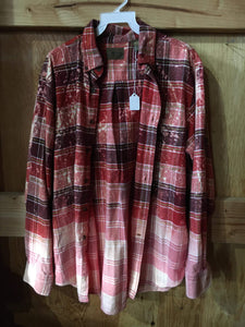 Mixed Red hand dipped vintage flannel Medium