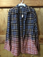 Load image into Gallery viewer, Blue/Brown/Mauve hand dipped vintage flannel Large