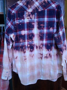 Navy/burgundy/pink hand dipped vintage flannel Medium