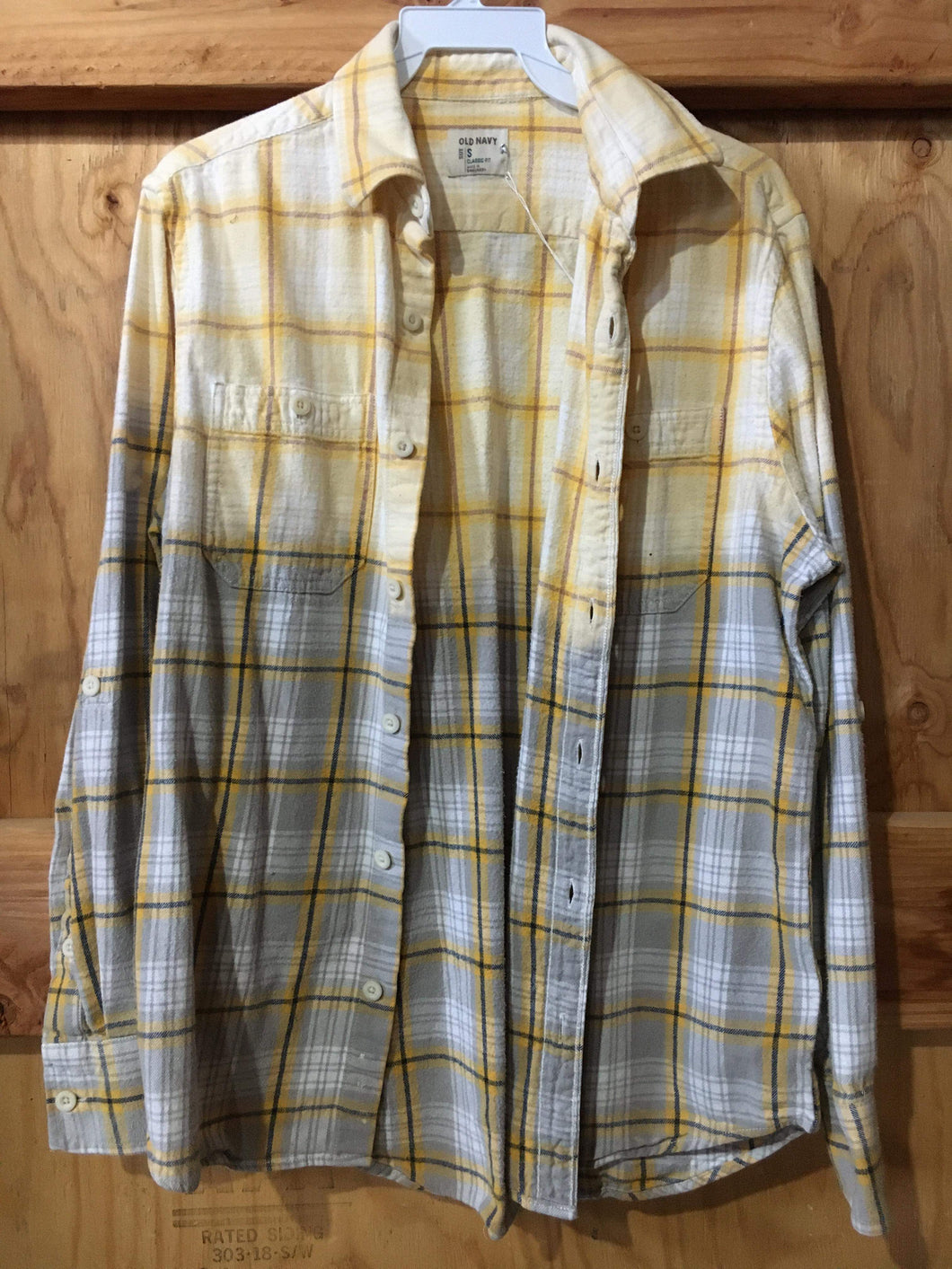 Grey & Mustard hand dipped vintage flannel Small