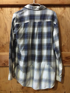 Blue & White hand dipped vintage flannel Medium