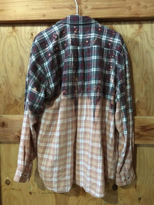 Charcoal & Burgundy hand dipped vintage flannel XL