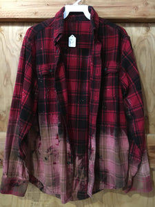 Red & Black hand dipped vintage flannel Medium