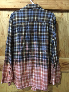 Blue/Brown/Mauve hand dipped vintage flannel Large