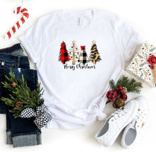 Load image into Gallery viewer, 4 Christmas Tree Leopard Tree Crew Neck Tee