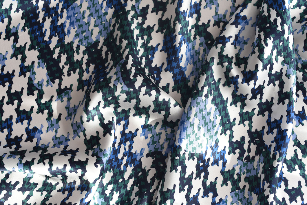 Okay its Houndstooth mania around here (Blue) -  Silk