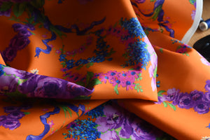 Florally Adequate, Don't Ask (Orange) -  Silk Wool