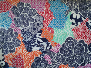 Beautiful floral cotton satin dressmaking fabric