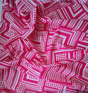 Geometric and dots pink cotton lawn dressmaking fabric