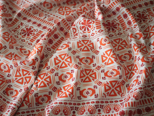Orange Aztec Festival-  Cotton