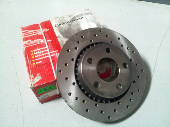 Zimmerman Drilled Front Rotor Set - Audi Quattro 83-85 / Audi 5000 Turbo 80-86