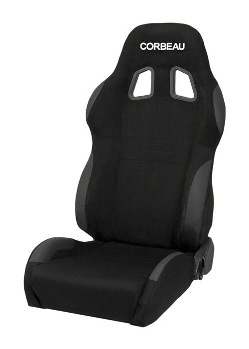 Corbeau A4 Seat Set (Driver & Passenger) - Black Microsuede Wide