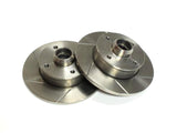 Slotted Rotors - 8.9 Inch rear solid brake rotor 4x100 4-lug - pair