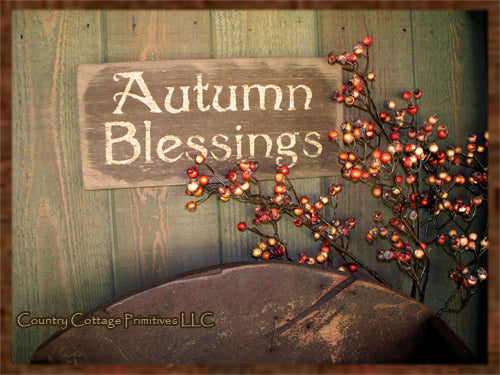 Primitive Wooden Autumn Blessings Sign