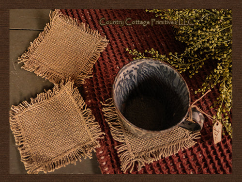 Burlap Fringed Coasters - 4/set