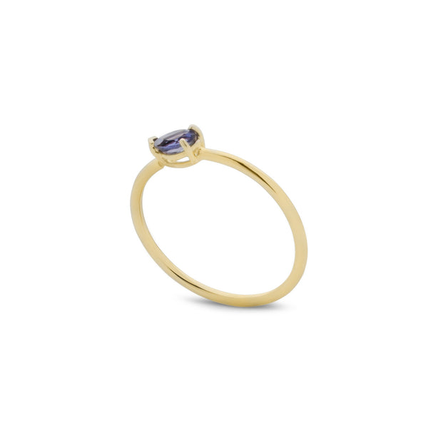 Iolite Tear Drop Ring