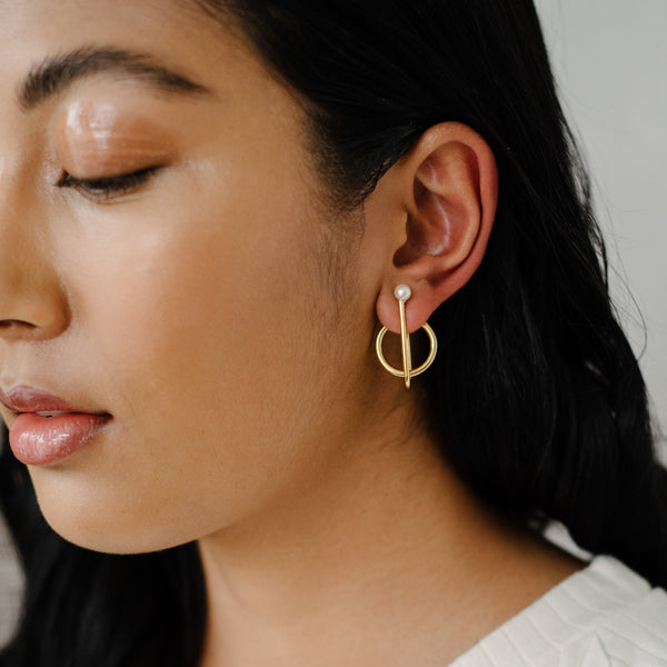 Perspective Earrings, Gold