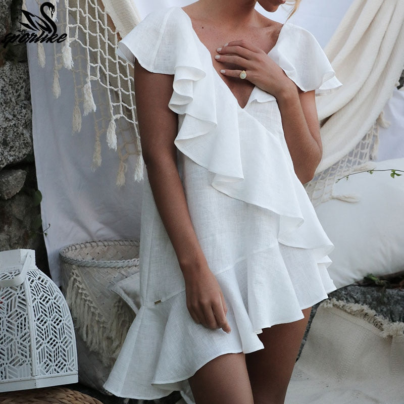 36f3a8433e Sexy White Ruffle Beach Dress Cover up Kaftans Sarong Bathing Suit Cov –  Moon Boutique