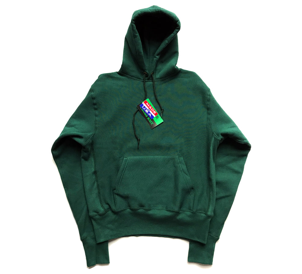 Cross Knit Hooded Sweatshirt Dk Green