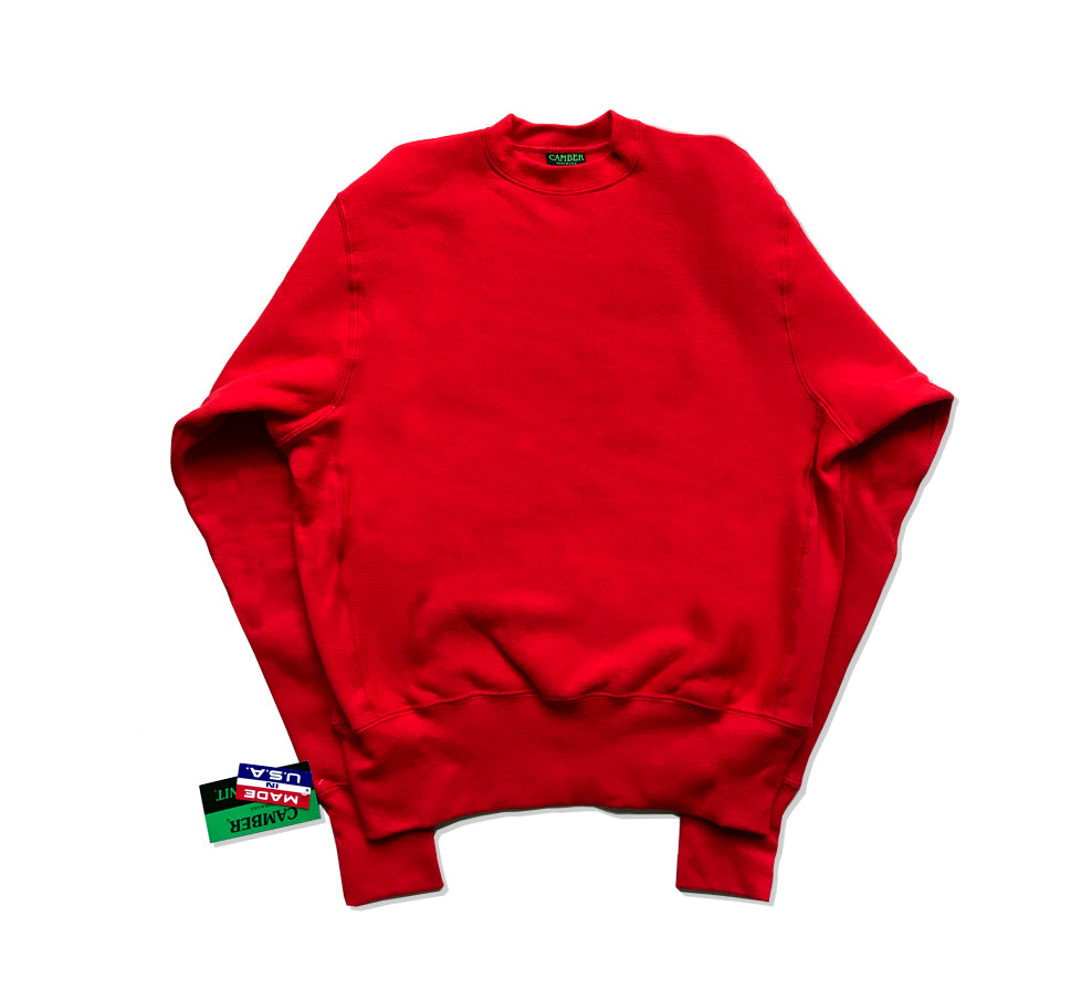Cross Knit Crew Sweatshirt Scarlet Red