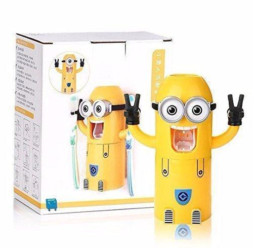 Toothbrush Holder Automatic Toothpaste Dispenser Minions Design Set Double Eyes