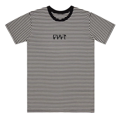 CULT BLACK STRIPE LOGO TEE