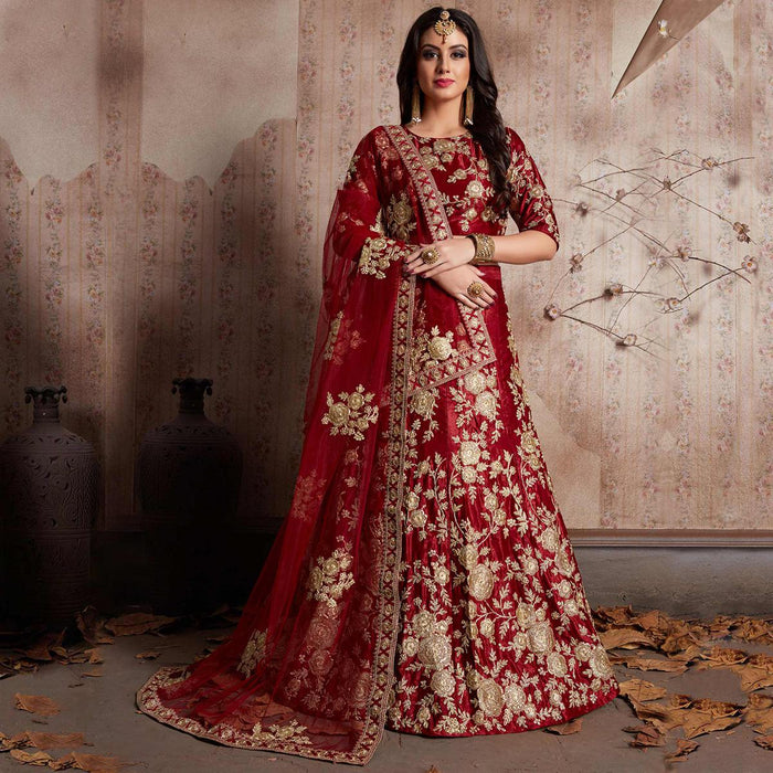 b68465e7d7c Moroon Wedding Lehenga