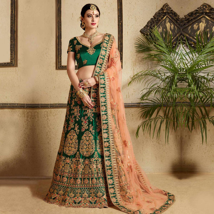 Indian Wedding Outfits.Hypnotic Pine Green Colored Wedding Wear Embroidered Satin Lehenga Choli
