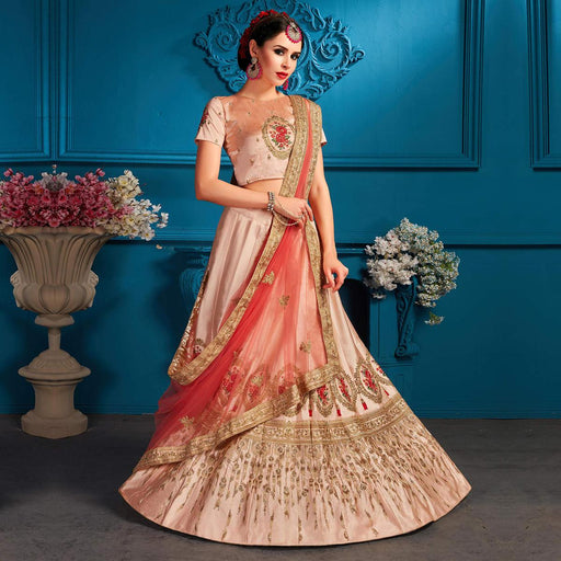86beff81a3 Excellent Light Peach Coloured Partywear Embroidered Satin Lehenga Choli