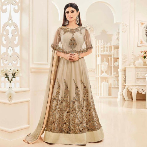 Mouni Roy Beige Cape Style Anarkali Suit