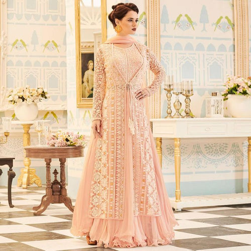 Light Pink Embroidered Jacket Style Anarkali Suit