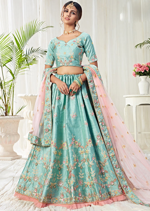 Blue And Pink Designer Lehenga Choli
