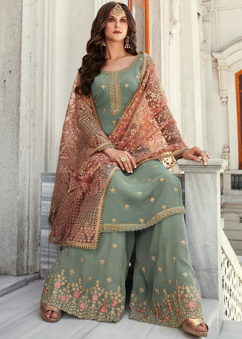 Indian Suits - Teal And Red Gharara Suit